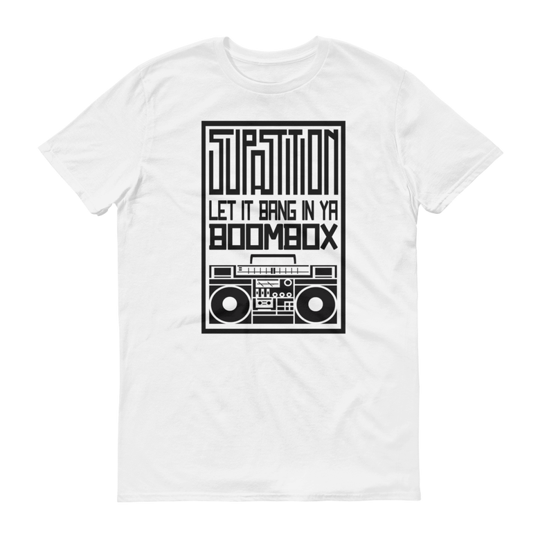 "Image of ""BOOMBOX"" TSHIRT - WHITE W/ BLACK PRINT"