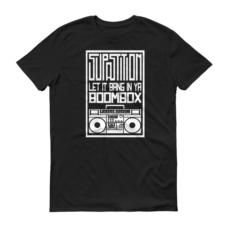 "Image of ""BOOMBOX"" TSHIRT - BLACK W/ WHITE PRINT"
