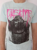 """Image of Finisterre """"Gorilla"""" T-Shirt, caribbean blue, black and pink print"""