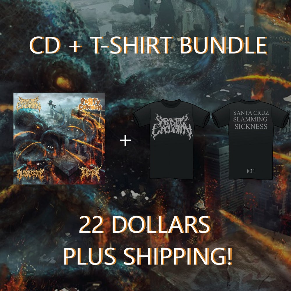"Image of ""Cannons of Gore Soaked, Blood Drenched, Parasitic Sickness"" Split CD + Shirt Bundle"