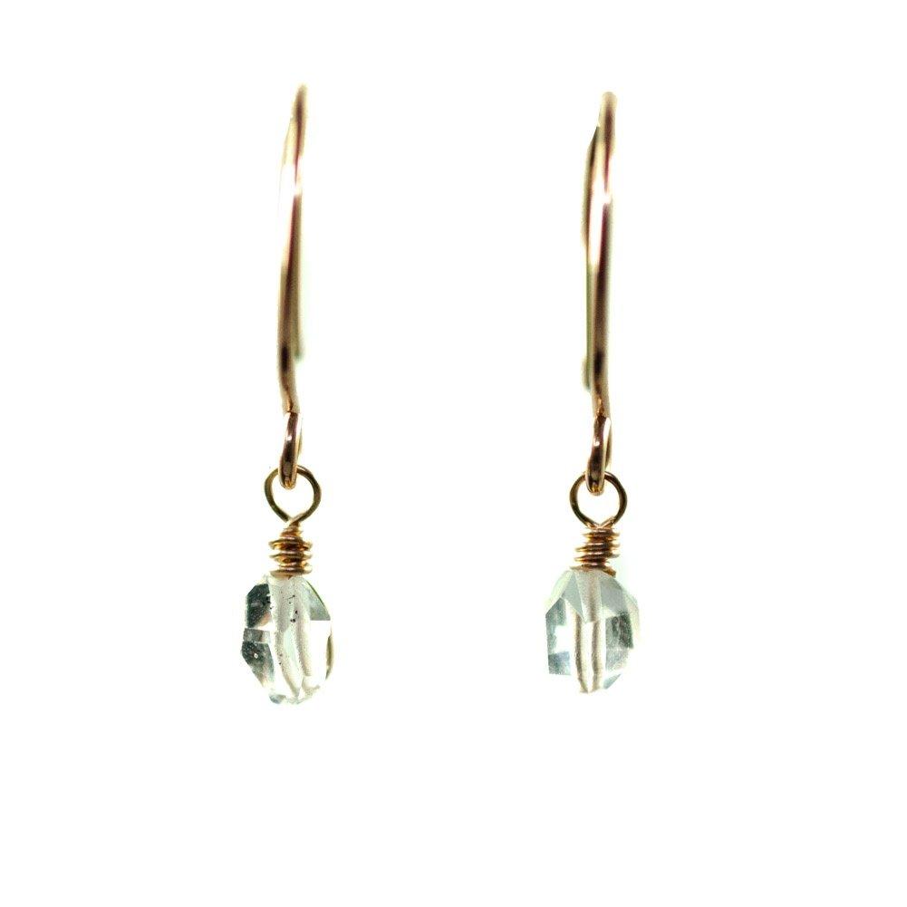 Image of Tiny Raw Crystal Hoop Earrings