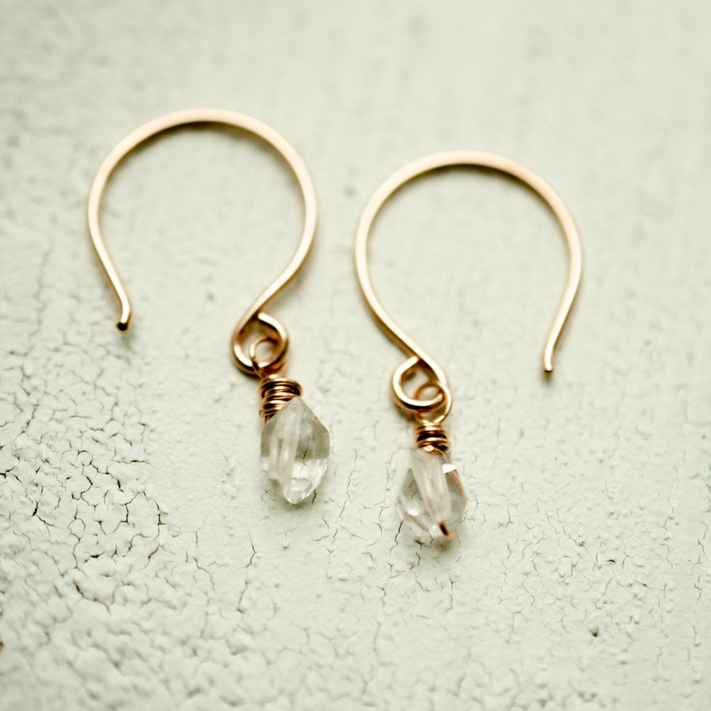 Image of Tiny Raw Crystal Hoop Earrings