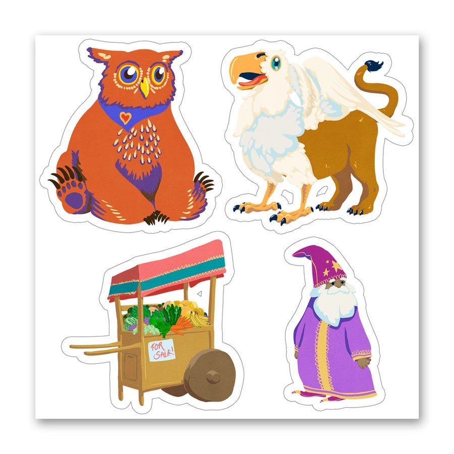 Image of Fantasy Fruit Cart & Friends - Sticker Sheet
