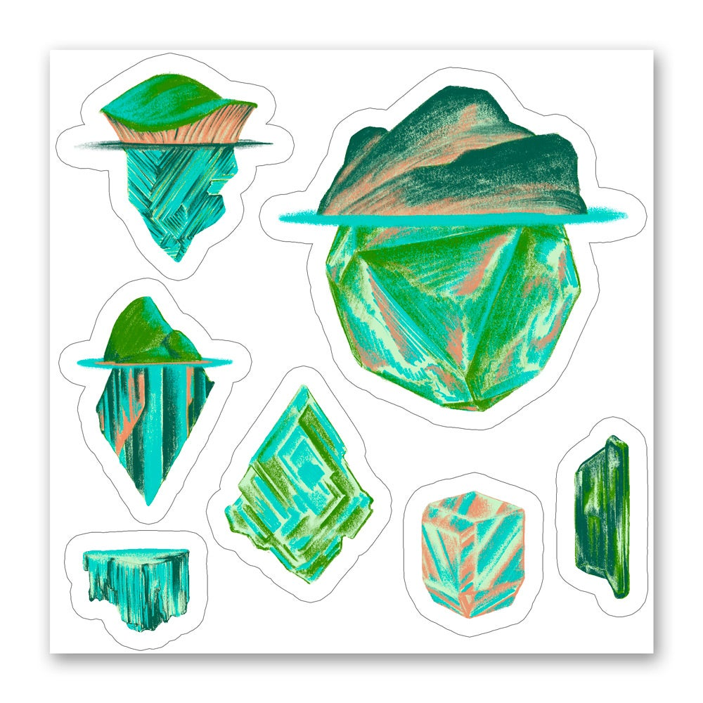 Image of Pastel Crystals and Crystal Islands - Sticker Sheet