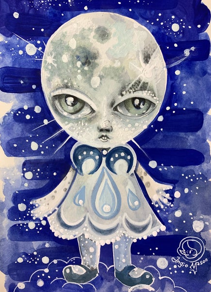 Image of Moon Girl - original mixed media painting/drawing