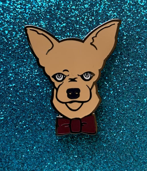 Image of Nugget Akkad The Handsome Chihuahua Soft Enamel Pin