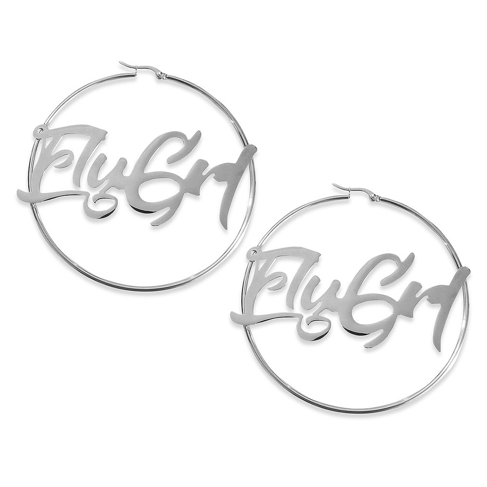 Image of FLY GRL 'Jody' Hoop Earrings In Silver