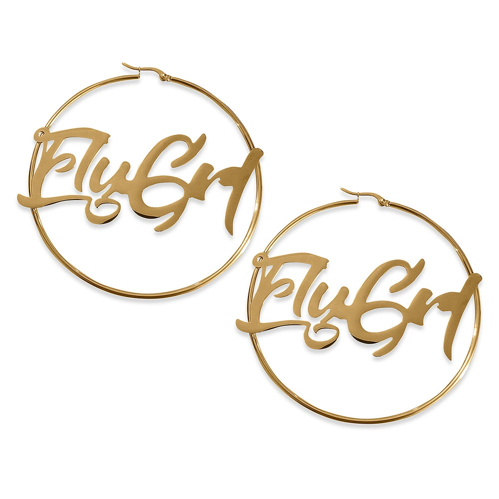 Image of FLY GRL 'Jody' Hoop Earrings In Gold