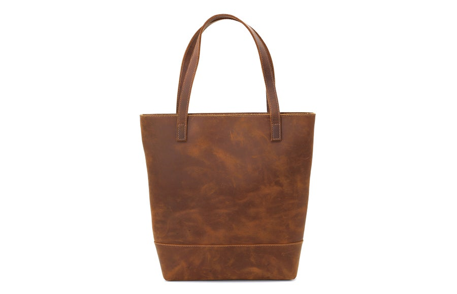 Image of Handmade Vegetable Tanned Leather Tote Bag, Women's Designer Handbags, Lady Shoulder Bags 15010