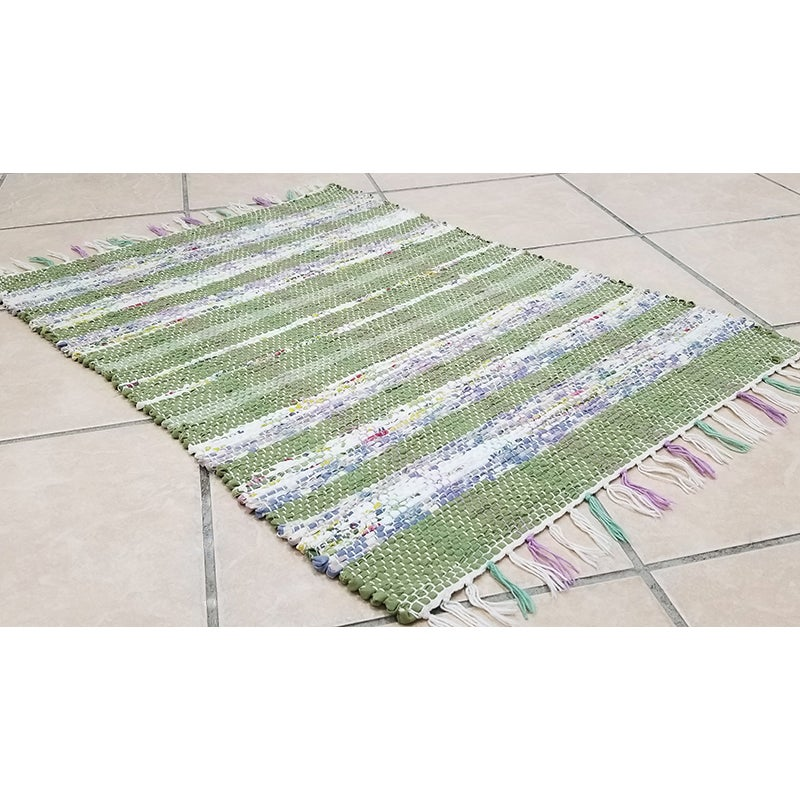 Image of Handwoven Rag Rug - Spring green, lavender, yellow, blue, pink / Eco-Friendly, upcycled
