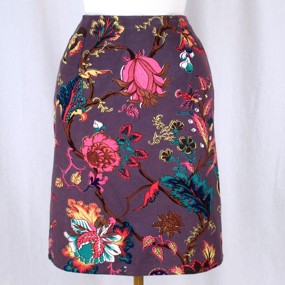 Image of Skirt- Plum Botanical Long