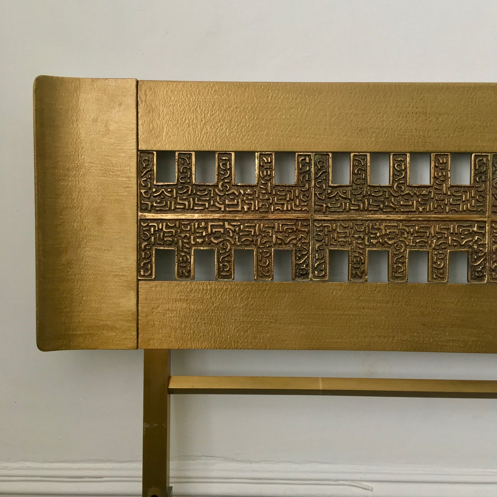 Image of Brass Headboard with Bronze Panel by Frigerio