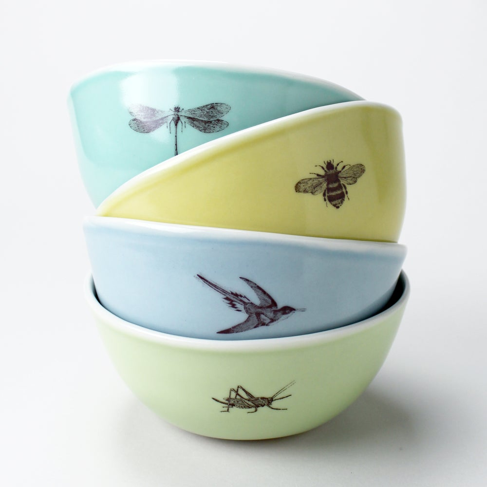 Image of rustic bowls, set of four, garden friends