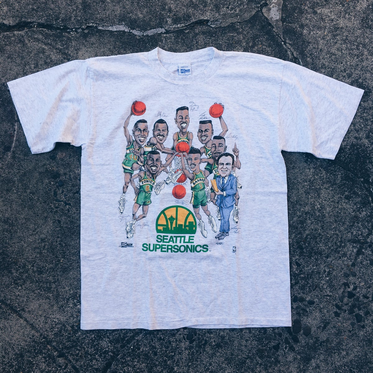 Image of Original Early 90's Salem Sportswear Sonics Caricature Tees.