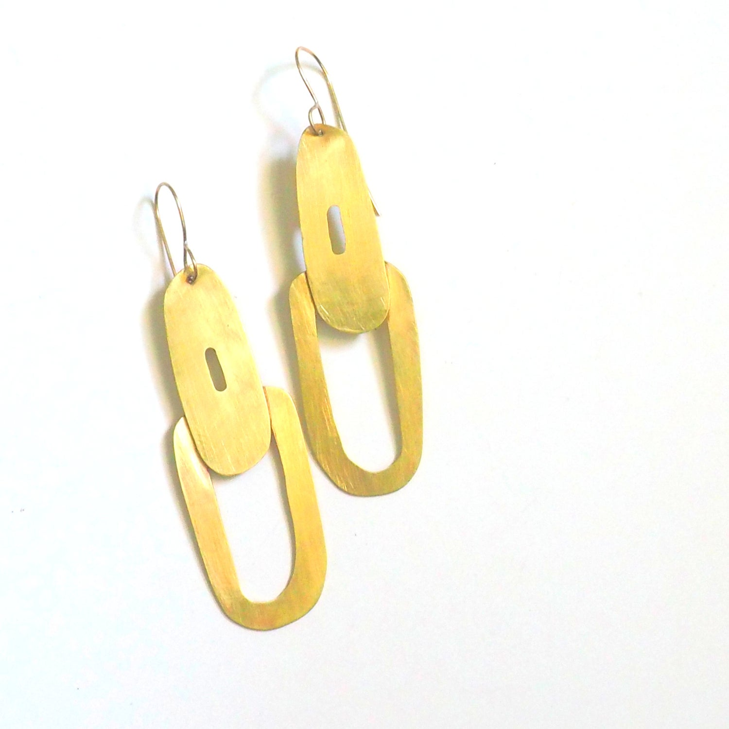 Image of Long O Brass earrings