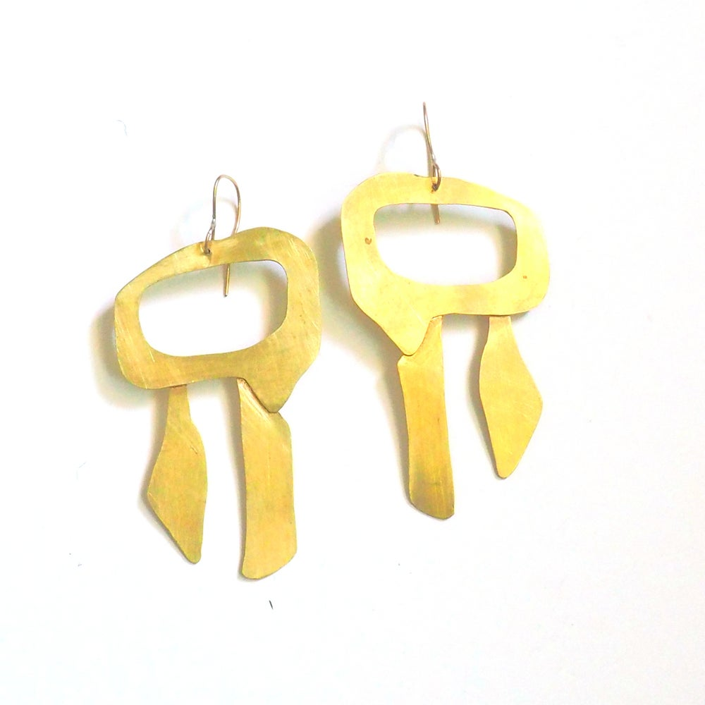 Image of Irregular Brass Shape Earrings