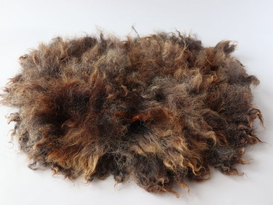 Image of Natural dark Grey Brown Fluffy Fur, Wool Photo Prop, Felt Mat GAL