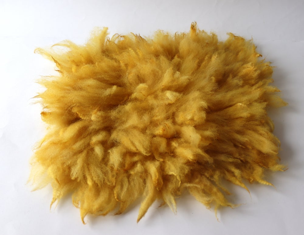 Image of Fluffy Fur Felted Rug Newborn Photography Posing Prop. Yellow, medium Size B . Ready to Ship. GAL