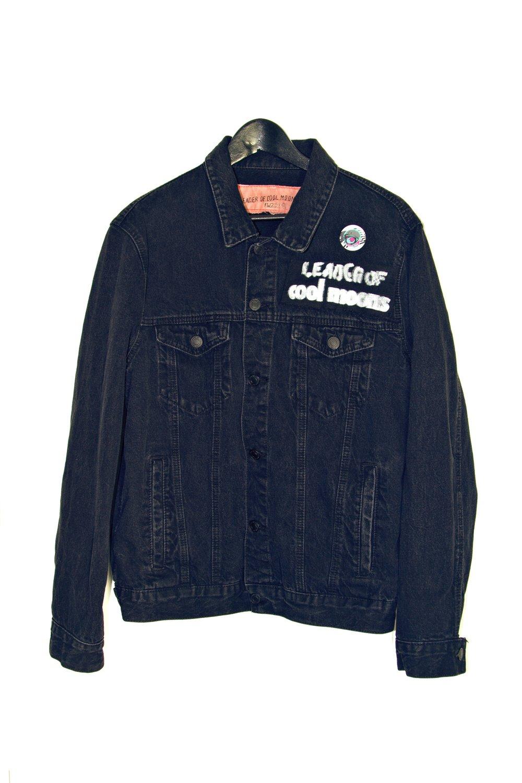 """Moonaille"" black denim trucker jacket"