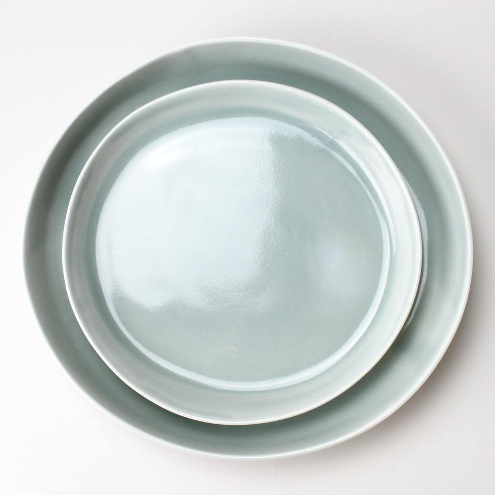 Image of serving platters set of two, in celadon