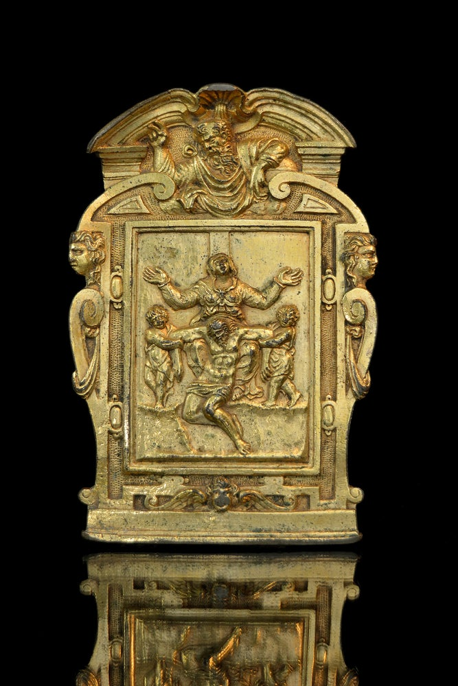 Image of Late 16th century gilt bronze Roman pax after a design by Michelangelo