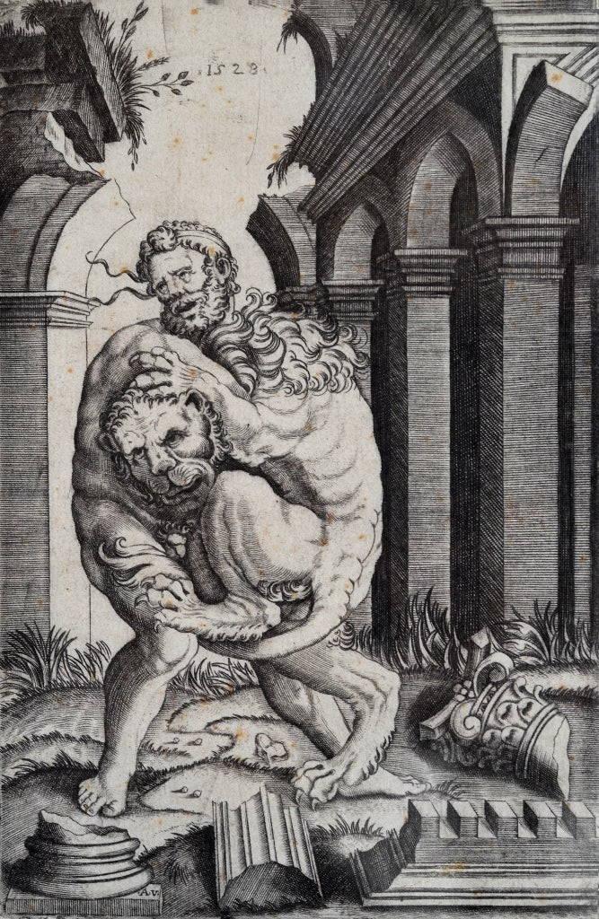 Image of 16th century print of Hercules and the Nemean Lion by Agostino Veneziano