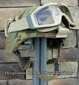 Image of ADVANCED COMBAT HELMET (ACH).  101st Sustainment Brigade Camo Cover NVG mount ESS Goggles.