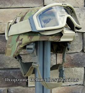 Image of ADVANCED COMBAT HELMET (ACH).  101st Sustainment Brigade Camo Cover NVG mount ESS Goggles.
