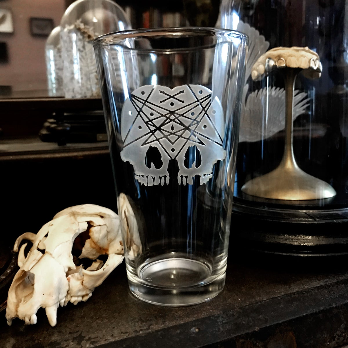 Image of Conjoined Skull Pint Glass