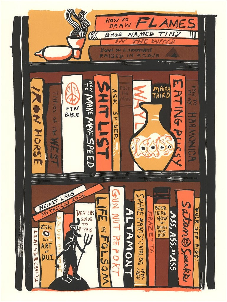 Image of Bikers Bookshelf - Silkscreen Print