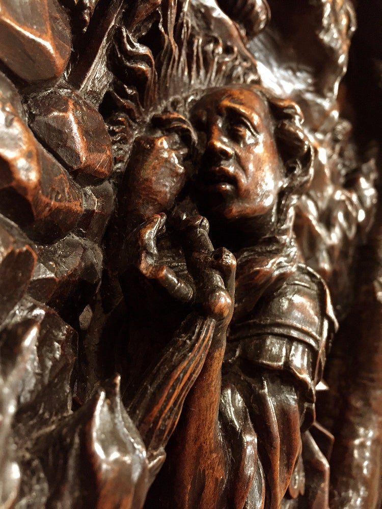 Image of Sculpted Basswood Relief Panel of a Penitent Saint