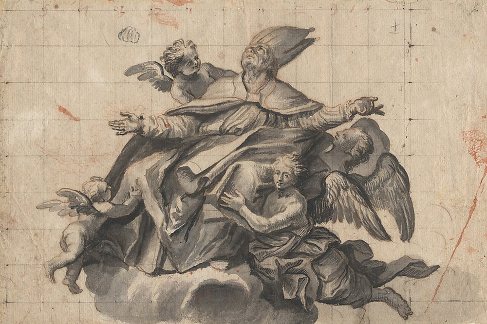 Image of Design for a ceiling decoration, attributed to Domenico Piola, 17th century