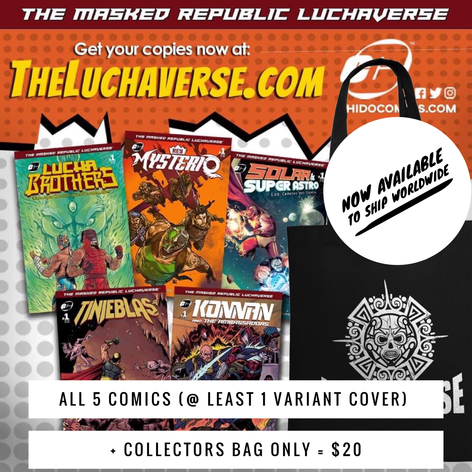 Image of Luchaverse Bundle - All 5 One-Shots + Bag
