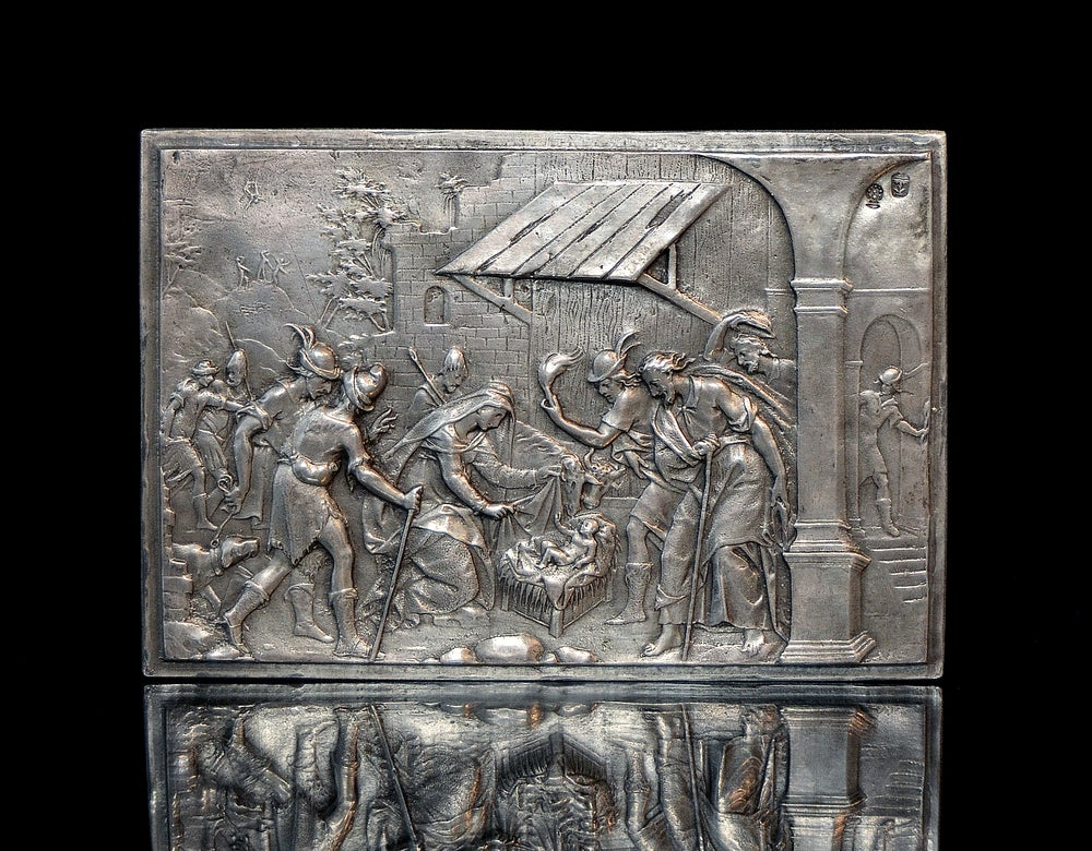 Image of Silver relief depicting an early 17th century Adoration of the Shepherds by Matthaus Walbaum