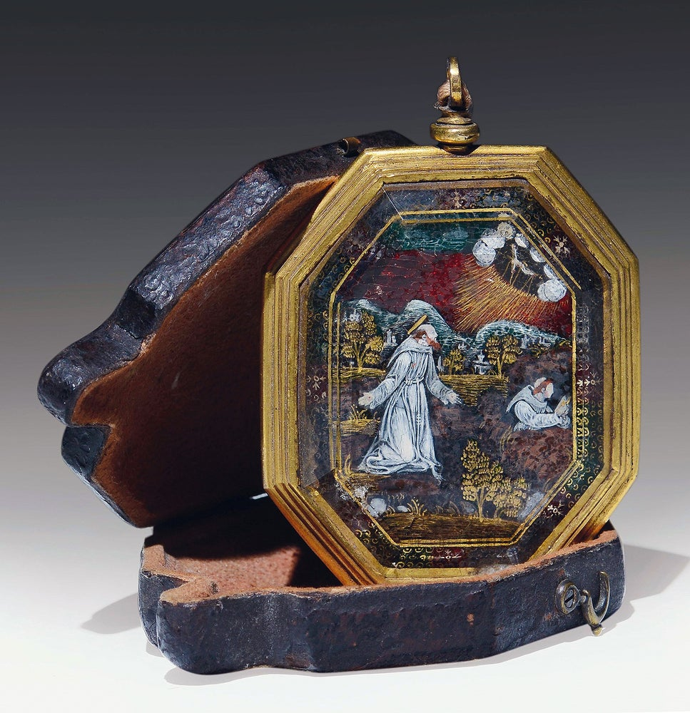 Image of 16th century Verre églomisé devotional pendant depicting St. Francis and St. Claire of Assisi