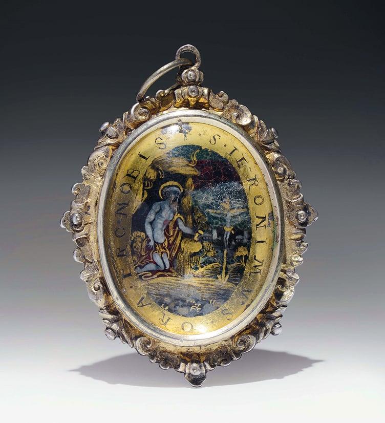 Image of ca. 1600 Verre églomisé devotional pendant depicting St. Jerome