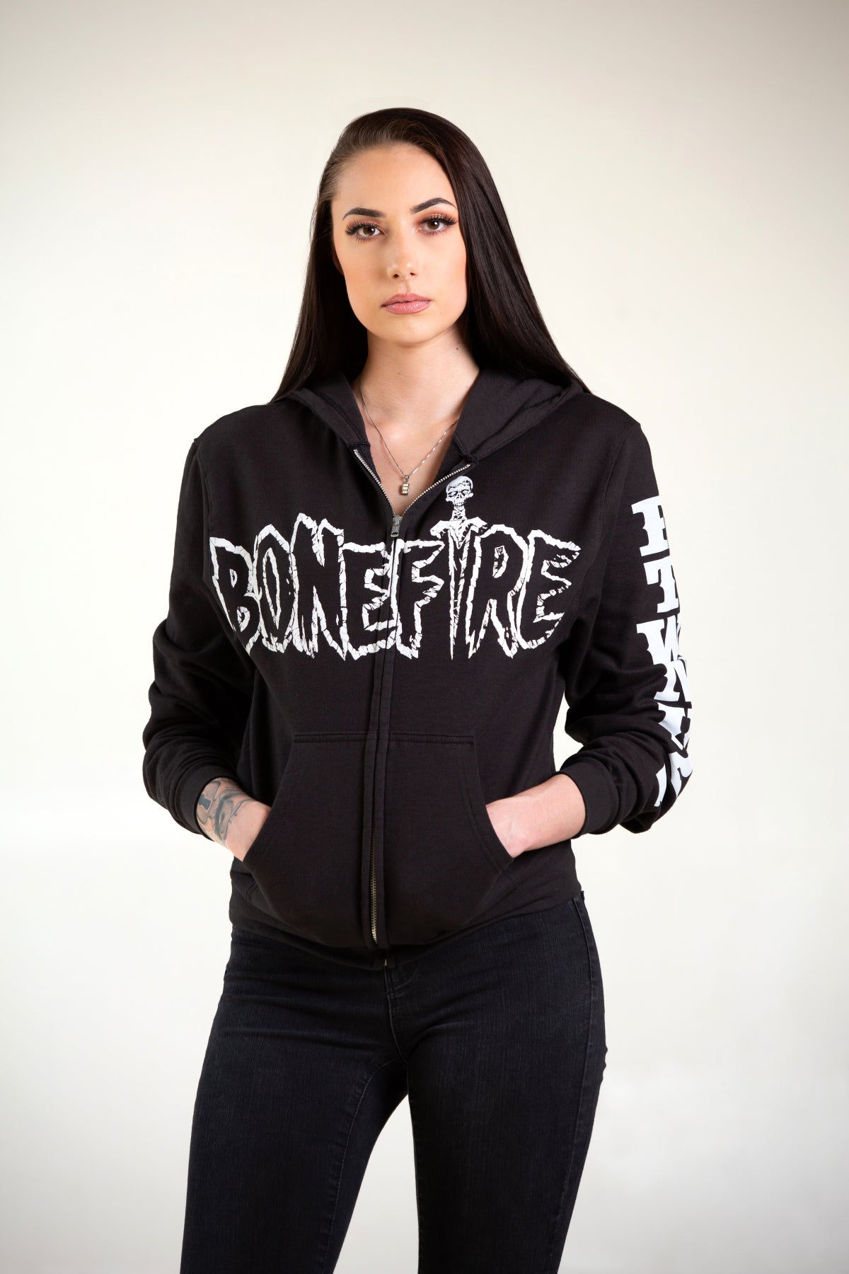 Image of BONEFIRE 'FADE' ZIP UP HOODIE - GLOWS IN THE DARK!