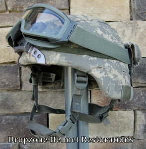 Image of U.S. ADVANCED COMBAT HELMET (ACH).  SIZE X-LARGE Digital Camo Cover NVG mount ESS Goggles.