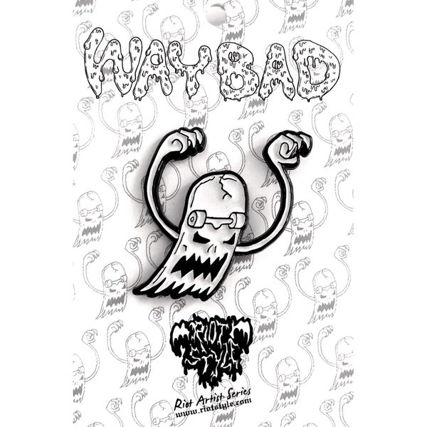 "Image of 👻 Riot Style x Waybad ""Skate Ghost"" Lapel Pin! Glow In The Dark Enamel!"