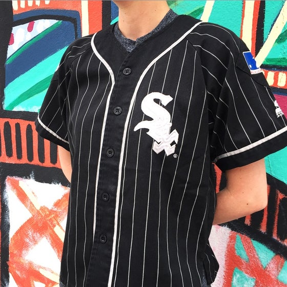 Image of Vintage 1990's Chicago White Sox Starter Pinstripe Jersey Sz.M (Youth)