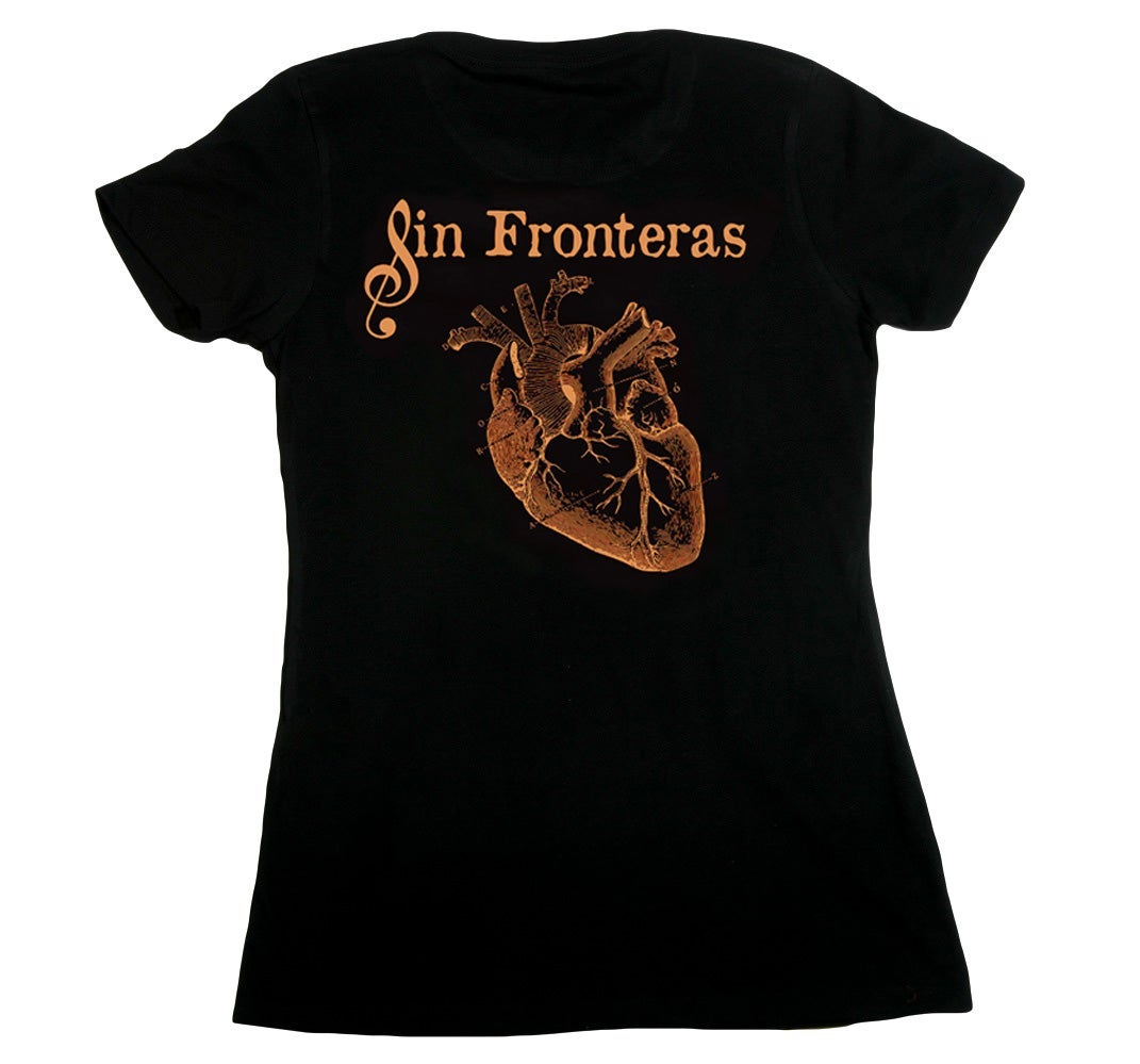 """Image of """"Sin Fronteras"""" - The Official T-Shirt of Del Corazón Music - """"Fitted"""" / """"Ajustado"""" / """"Womans"""""""