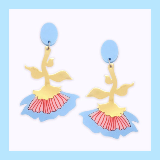 Image of Flora Dangles (Pastel Blue/Peach-Pink/Gold)