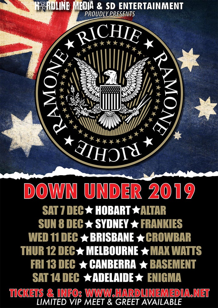 Image of VIP TICKET - RICHIE RAMONE - BRISBANE, CROWBAR - WED 11 DEC