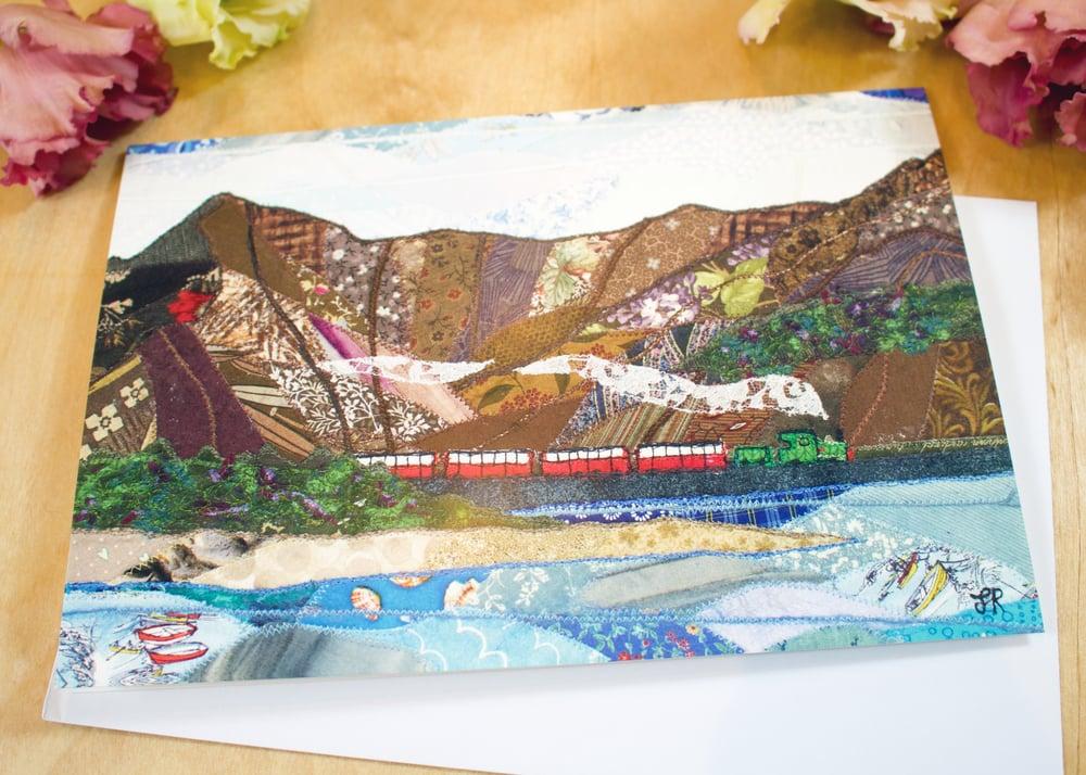 Image of A train on the Cob, Porthmadog / Tren bach ar y Cob, Porthmadog