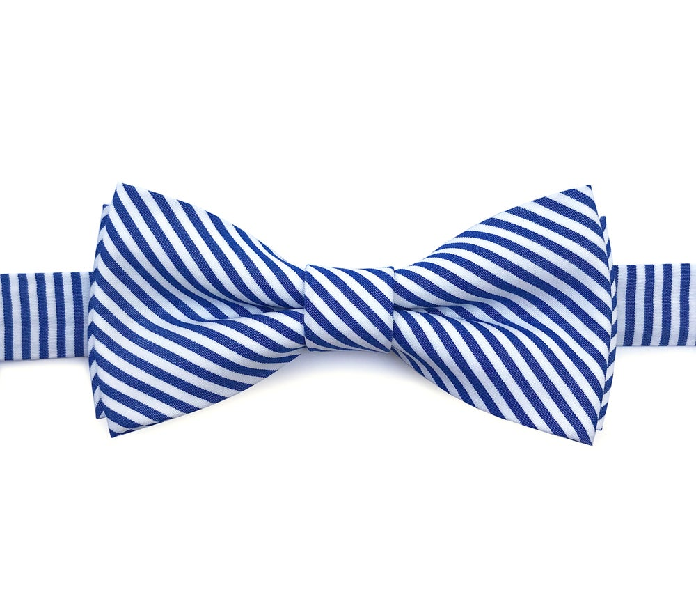 Image of Navy stripes pre-tied bow tie