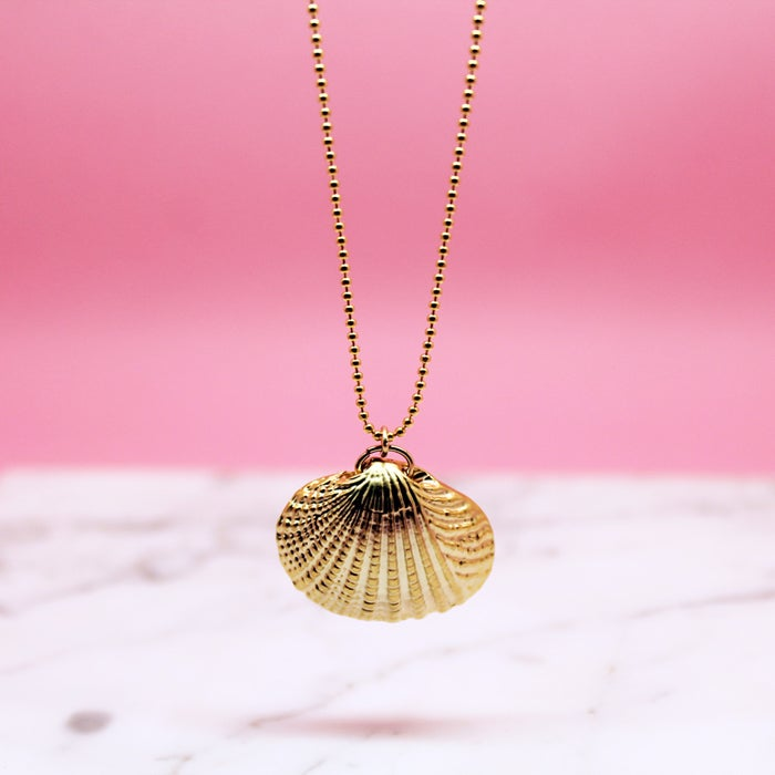 Image of Gold Clam Shell Necklace