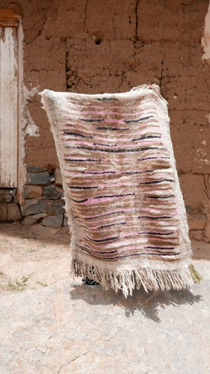 Image of Moroccan Wool Rug - Pink 1