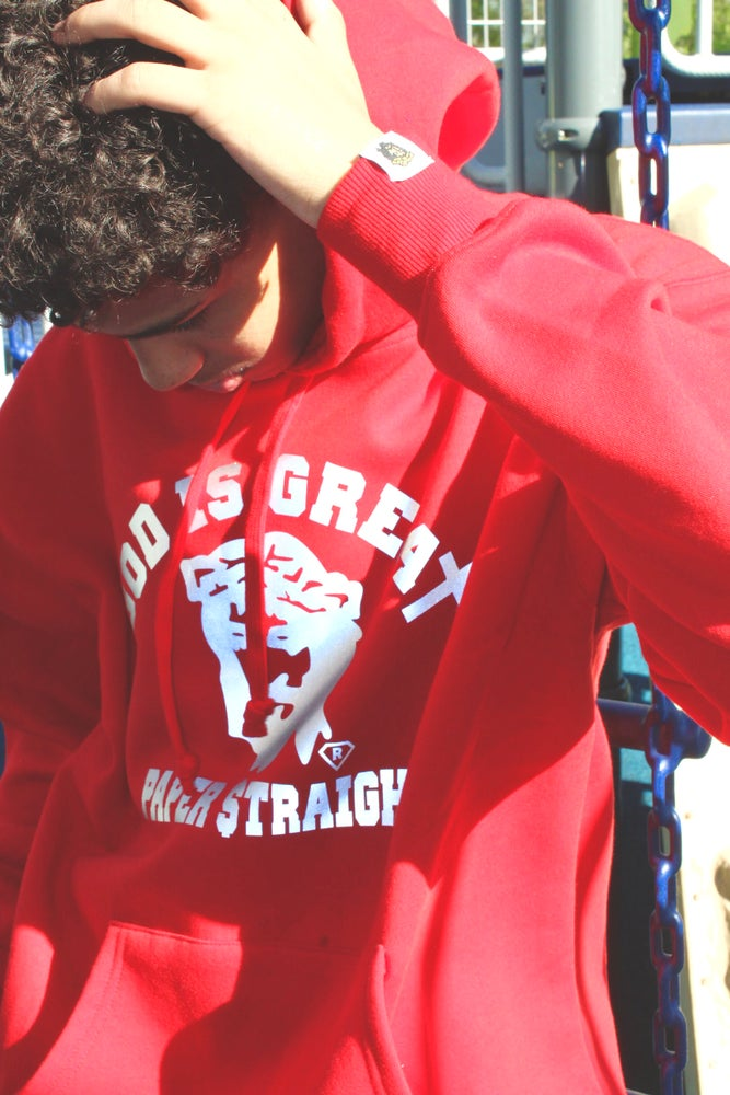 Image of GIGP$ RED REFLECTIVE LOGO HOODIE
