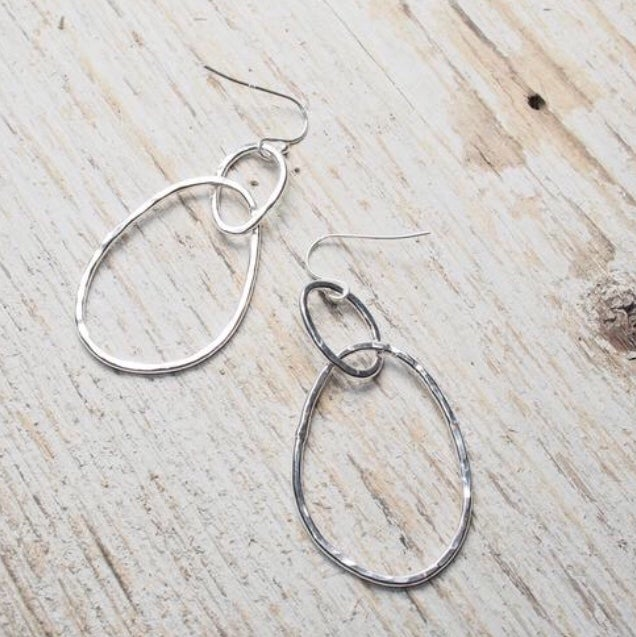 Image of irregular double oval drop earrings