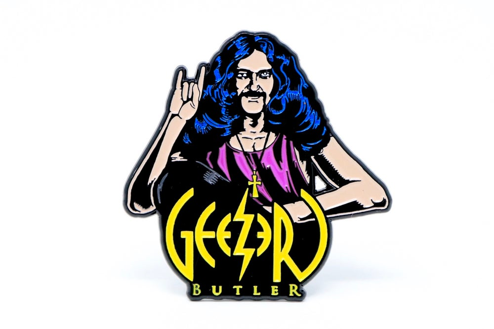 Image of Geezer Butler Horns Enamel Pin